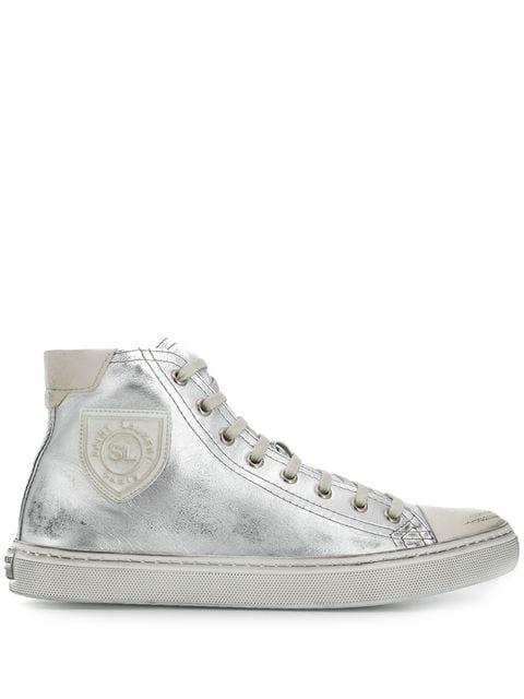 Saint Laurent Bedford Sneakers In Metallic Leather In 8170 Silver