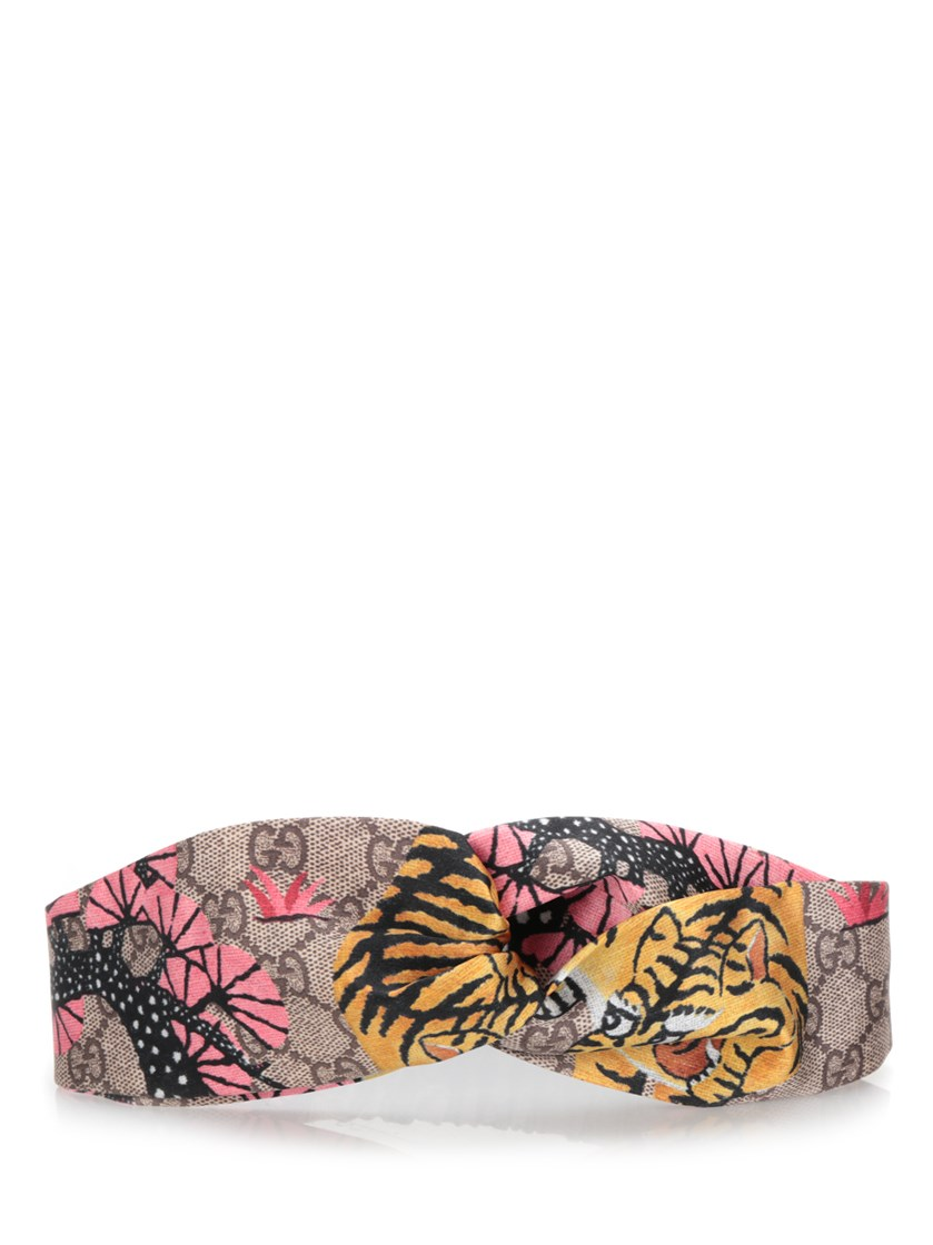 9c03a0b9405 Gucci Twisted Printed Silk-Satin Headband In Bengal Print Silk ...