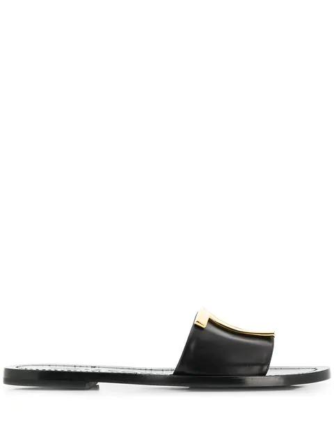 Tom Ford Tf Flat Slide Sandals In Blk Black
