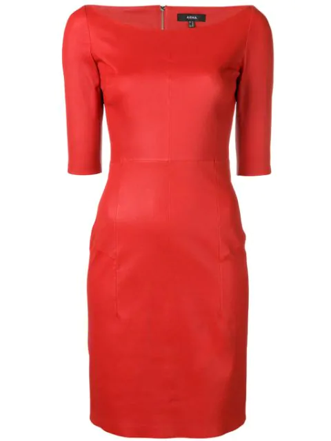 Arma Leather Tube Dress In Red