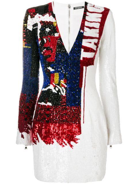 Balmain Long-Sleeve V-Neck Sequined Mini Dress In Aax