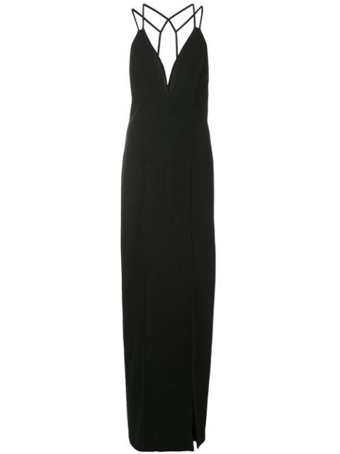 Aidan Mattox Lattice Back Plunge Gown In Black