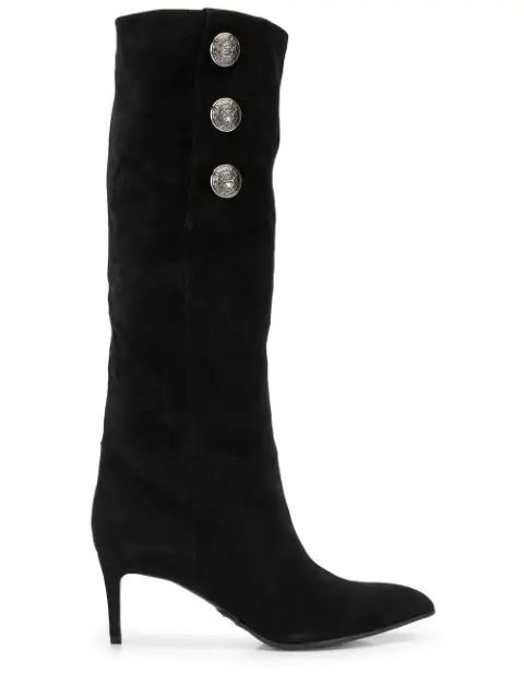 Balmain Coin Knee Length Boots In Black