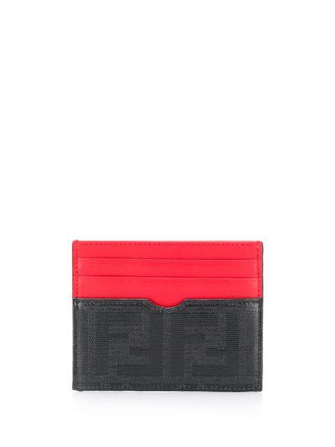 Fendi Ff Logo Cardholder In Red