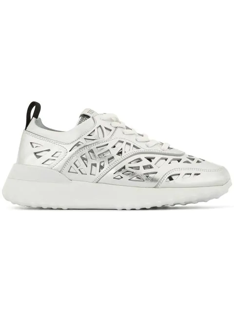 Tod's Stencil Cut Sneakers In Silver
