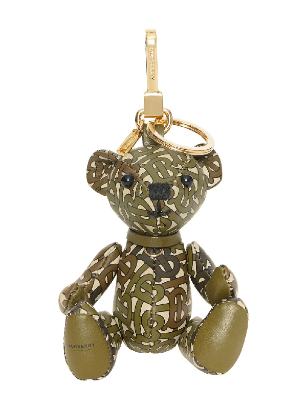 9b71cfd71c7 Burberry Thomas Bear Charm In Monogram Print Leather In Green