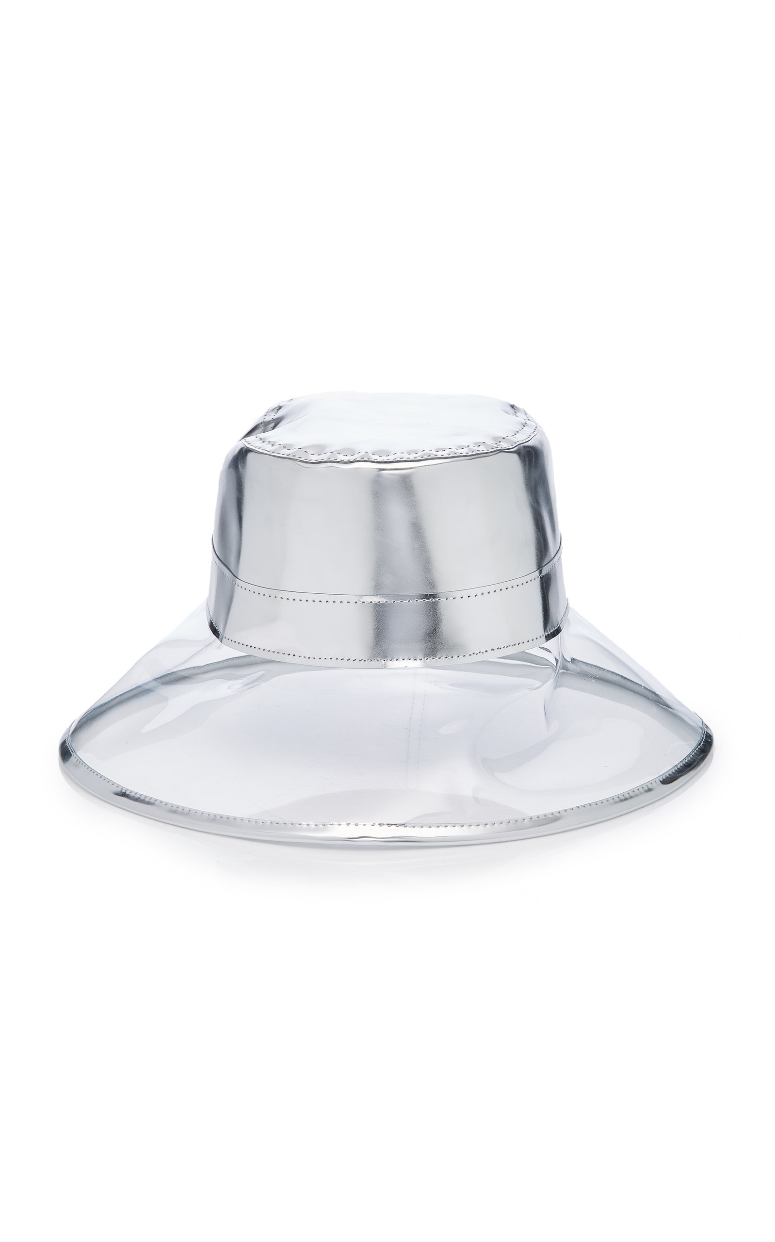183c37026b2d0 Eric Javits Go-Go Patent Leather And Pvc Bucket Hat In Silver