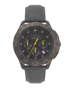 Versace Simons Town Chronograph Leather Strap Watch, 46Mm In Gray