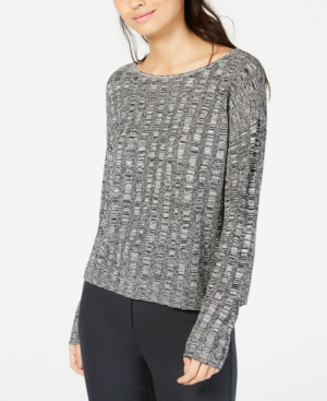 Eileen Fisher Organic Linen And Silk Scoop-neck Sweater In Black
