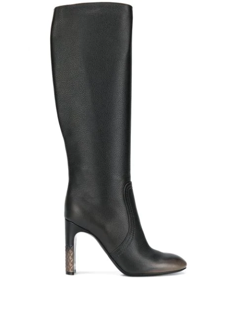Bottega Veneta Intrecciato-Heel Leather Knee-High Boots In Brown