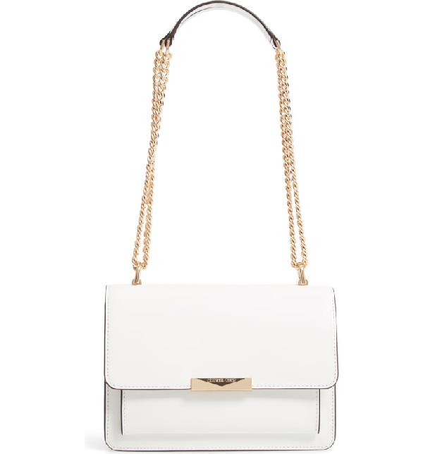cceb368faf51 Michael Michael Kors Jade Leather Gusset Shoulder Bag - White In Optic White