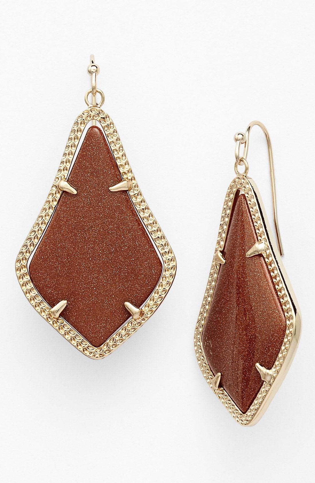Kendra Scott Alex Drop Earrings In Goldstone/ Gold