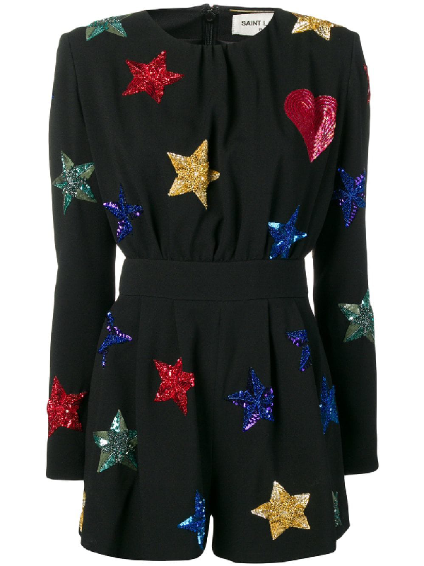 9fcd71480ca2c Saint Laurent Jumpsuit In SablÉ Fabric With Embroidered Stars And Hearts In  Black