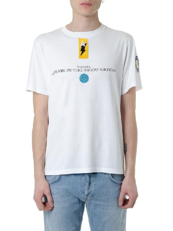 Golden Goose White Logo T Shirt In Cotton In White/Multicolor