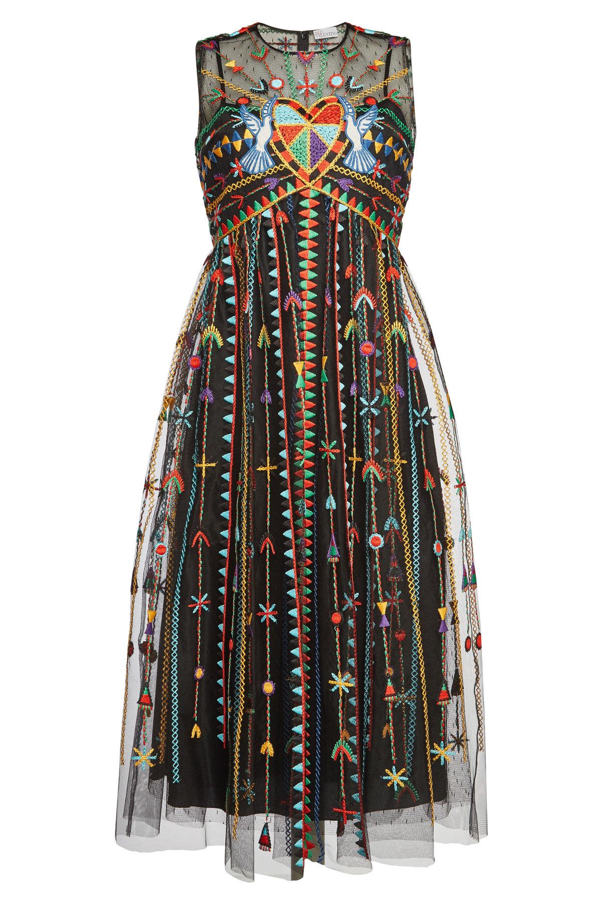 Embroidered Dress In Multicolored
