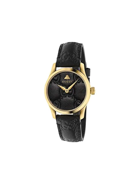 Gucci G-Timeless Leather Strap Watch, 38Mm In Black