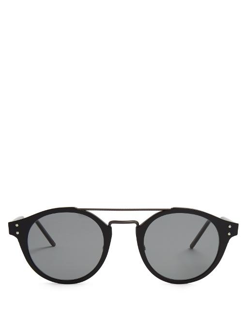 c1aeb984e Bottega Veneta Round-Frame Acetate Sunglasses In Navy | ModeSens