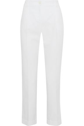 Dolce & Gabbana Cropped Stretch-cotton Piqué Straight-leg Pants In White