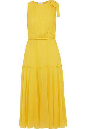Giambattista Valli Bow-embellished Silk-chiffon Midi Dress In Yellow