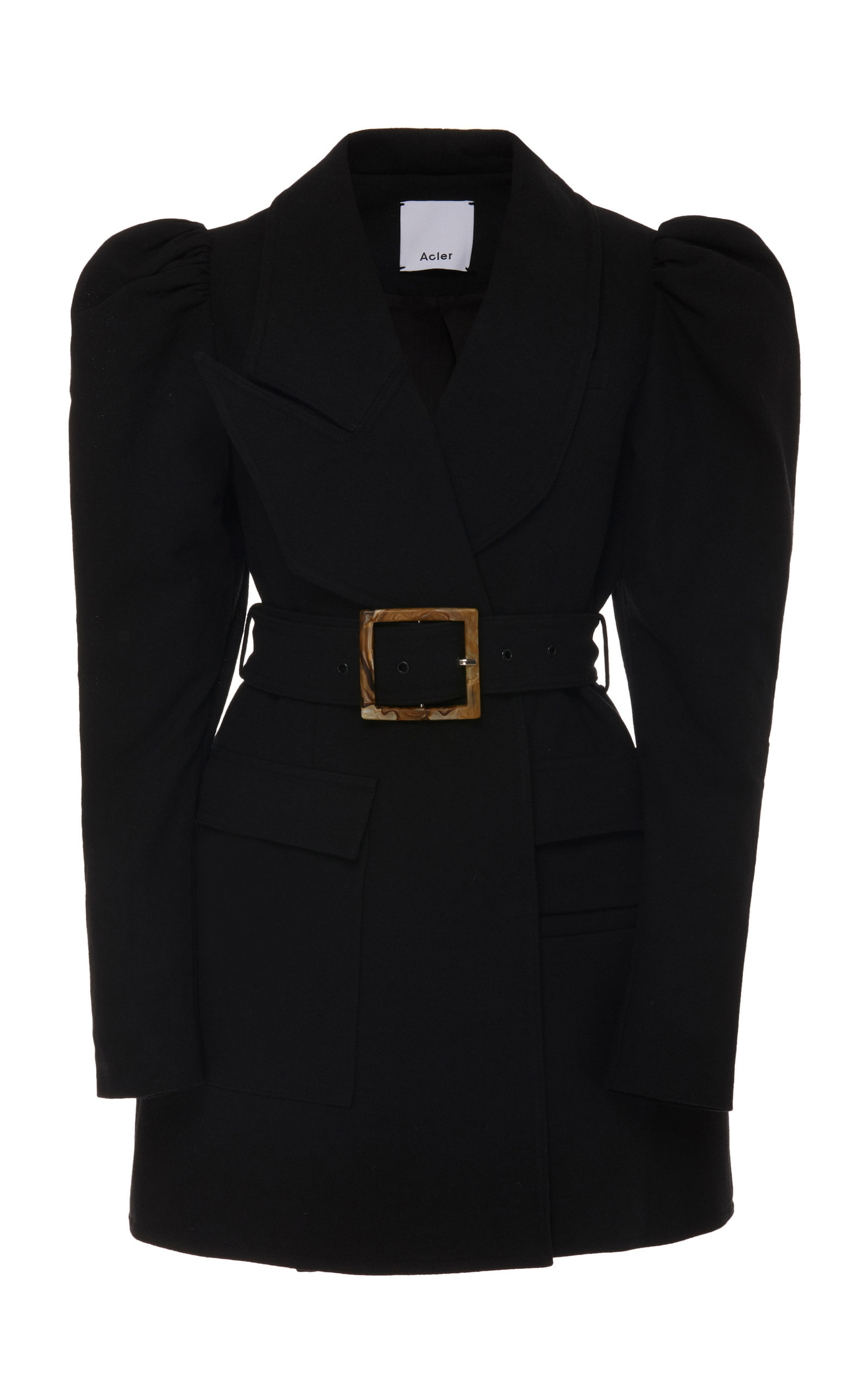 46cb106e2956 Acler Alameda Puffed-Shoulder Belted Blazer Dress In Black | ModeSens