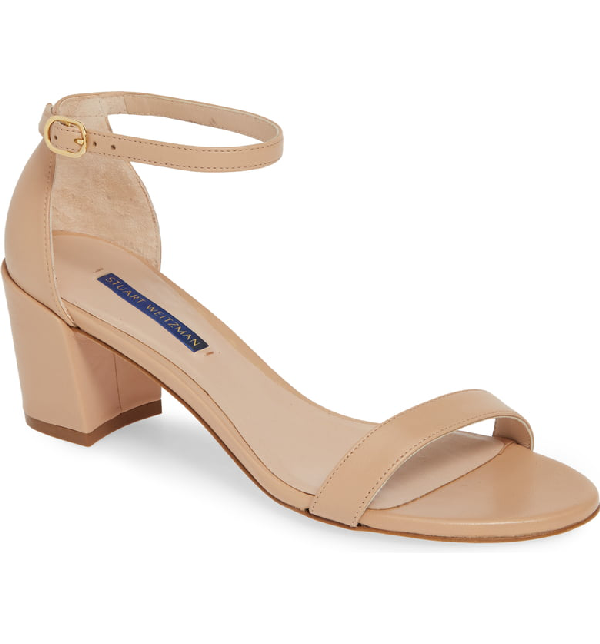 Stuart Weitzman Simple Ankle Strap Sandal In Adobe Dress Nappa