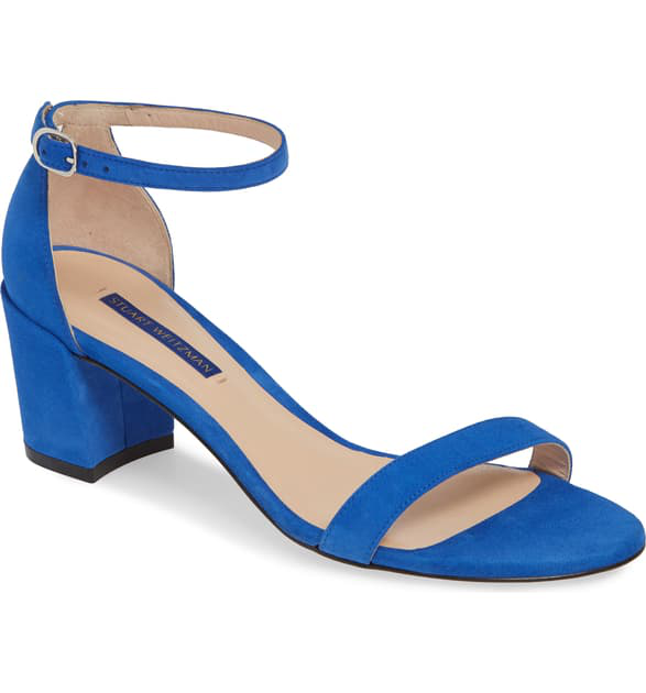 Stuart Weitzman Simple Ankle Strap Sandal In Royal Blue Suede