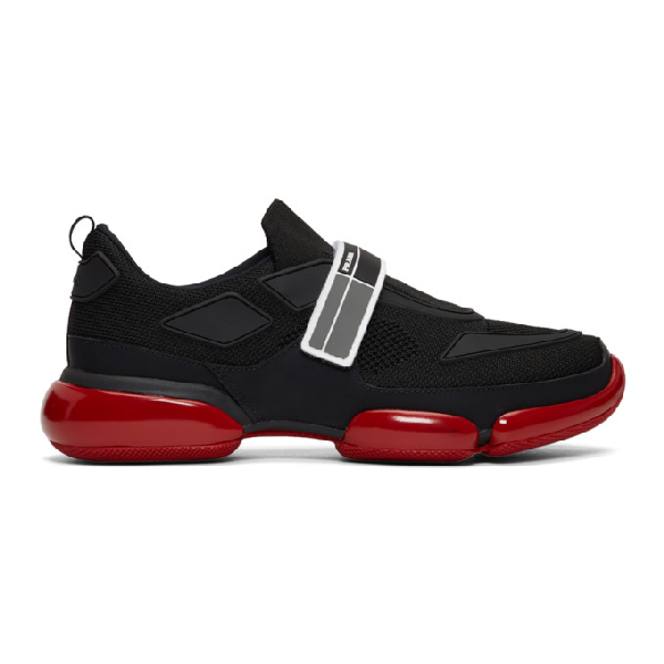 Prada Men's Cloudbust Knit Sport Sneakers With Single Grip-strap, Black/red In F002l-blk