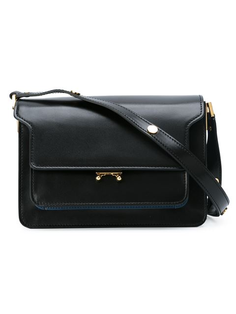 Marni Trunk Medium Leather Shoulder-Bag In Navy