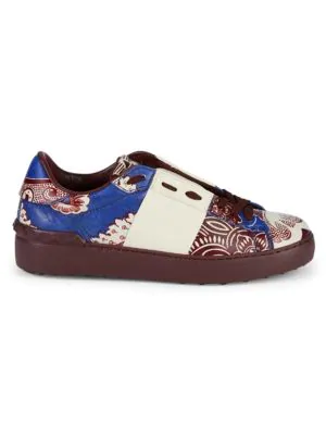 Valentino Graphic Leather Sneakers In Blue