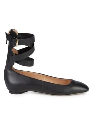 Valentino Caged Back Zip Leather Ballerina Flats In Nero