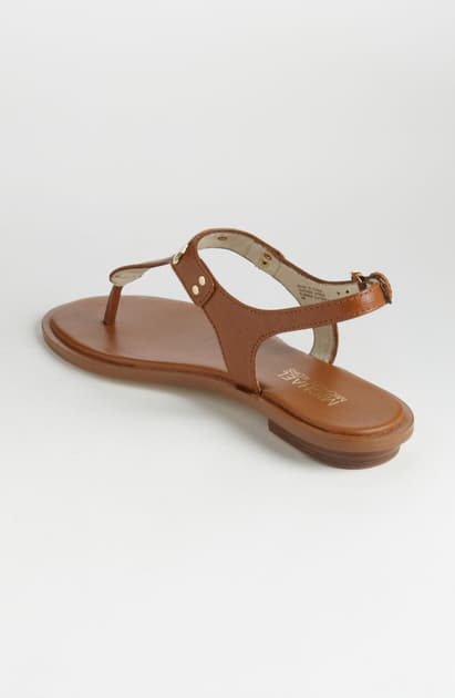 Michael Michael Kors Plate Slingback Thong Sandals In Luggage