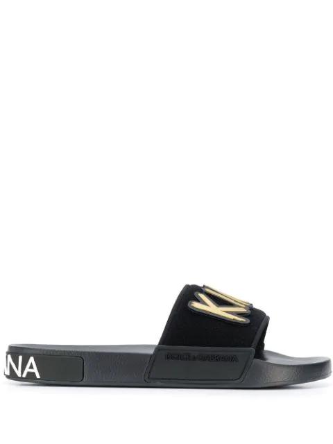 Dolce & Gabbana King Patch Slides In Black