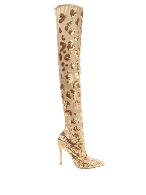 Gianvito Rossi Daze Cuissard Leopard Over-The-Knee Boots In Gold