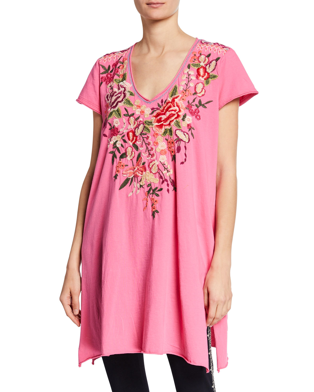 Johnny Was Samira Floral Embroidered Tunic Dress In Pink