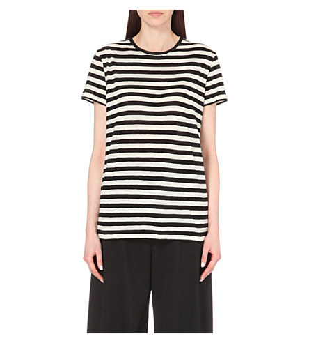 Proenza Schouler Tie-Back Striped Cotton-Jersey T-Shirt In Black/Ecru