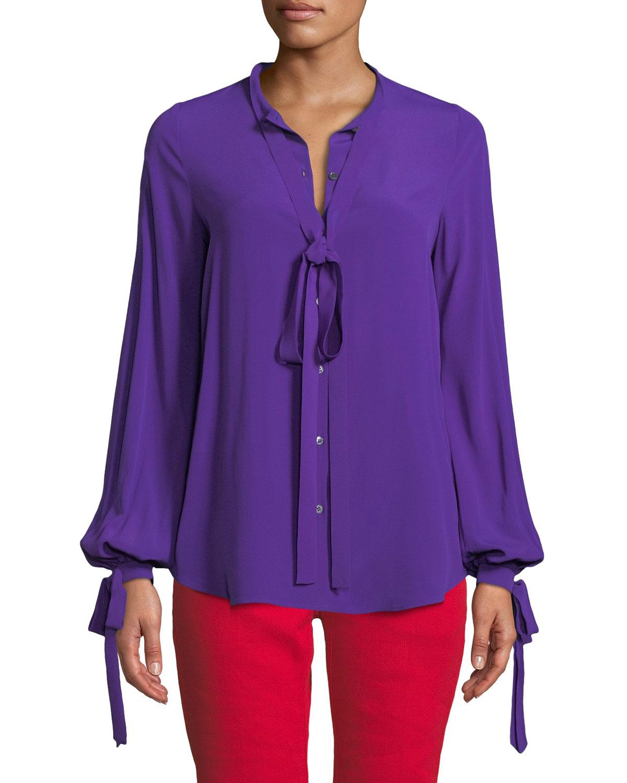 N°21 Violet Tie-Neck Button-Front Blouse