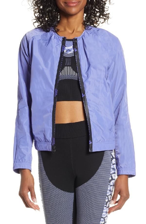 separation shoes 519b2 dec05 Adidas By Stella Mccartney Collarless Zip-Front Logo Track Jacket In Joy  Purple S13