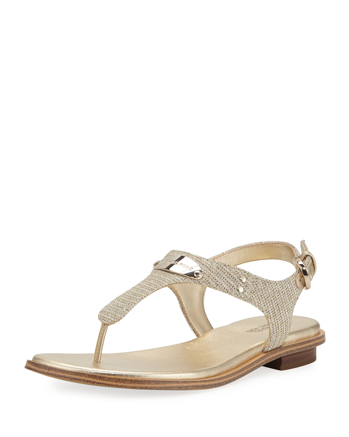 6141abcf2e0 Michael Michael Kors Mk Plate Metallic Thong Sandals In White Champagne