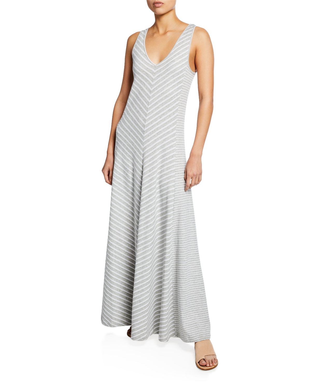 b2fe6967d Joan Vass Petite Striped Sleeveless V-Neck Maxi Dress In Grey Heather
