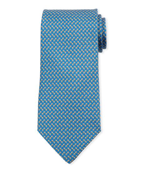 Salvatore Ferragamo Bow-print Silk Tie In Blue