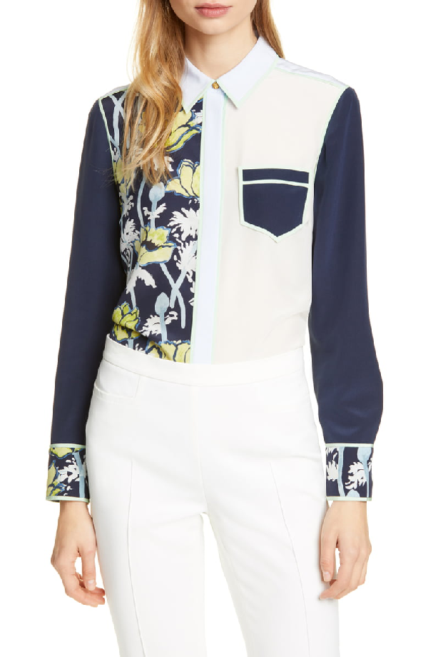 831870d72e9 Tory Burch Jackie Colorblock Button-Front Long-Sleeve Silk Blouse In Navy  Poppies Bloom