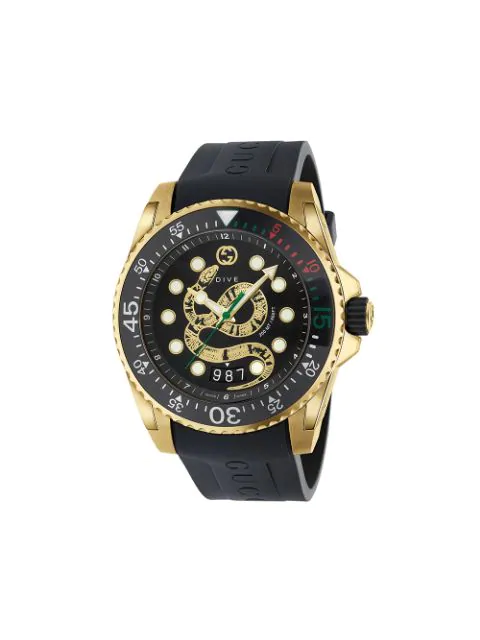 Gucci Men's Dive King Snake Gold Pvd Watch With Rubber Strap In Black