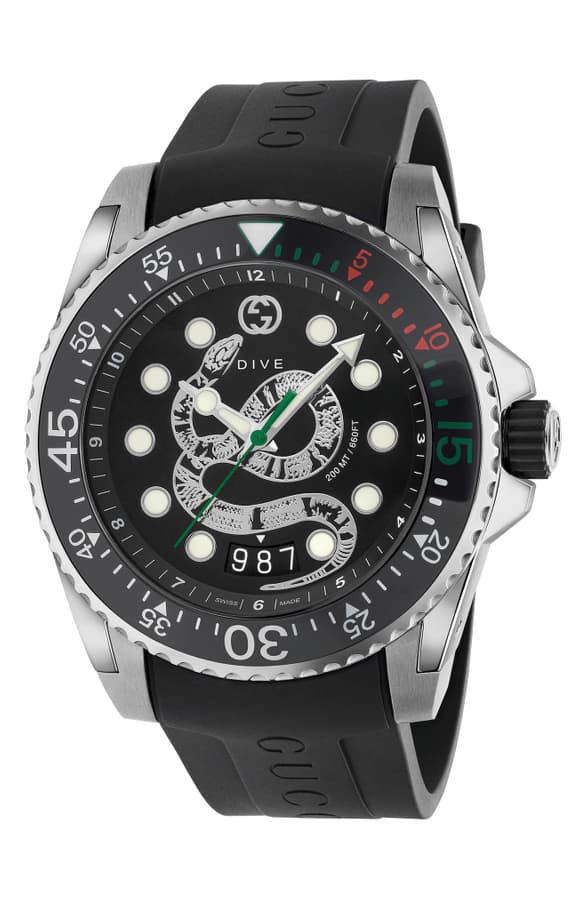 Gucci Men's Dive King Snake Stainless Steel Watch With Rubber Strap In Black/ Silver