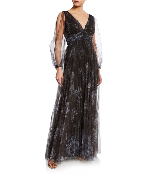 44b716005101 Marchesa Notte Floral-Print Pleated V-Neck Bishop-Sleeve Tulle Gown In Black