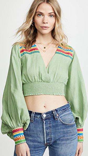 All Things Mochi Cora Cropped Blouson-sleeve Top W/ Embroidery In Green