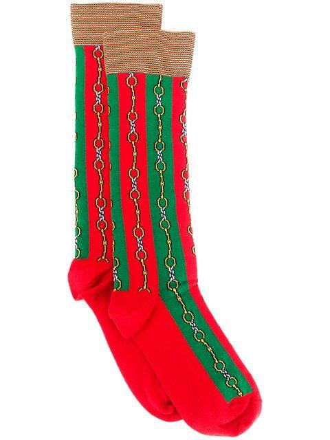 Gucci Men's Horsebit Chain Striped Socks In Green