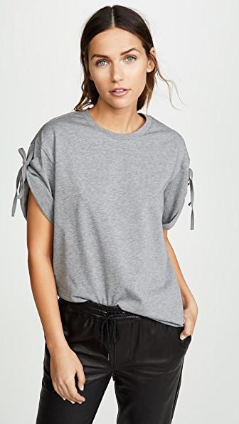 f40bc2873b1564 3.1 Phillip Lim Short Sleeve T-Shirt With Sleeve Ties In Grey Melange