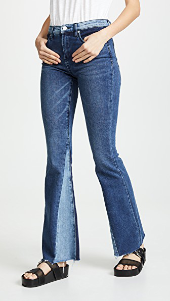 Blank Denim Patchwork Flare Jeans In Mix & Match