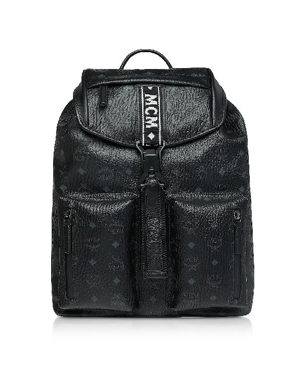 Mcm Black Visetos Raymonde Two Pocket Medium Backpack In Brown