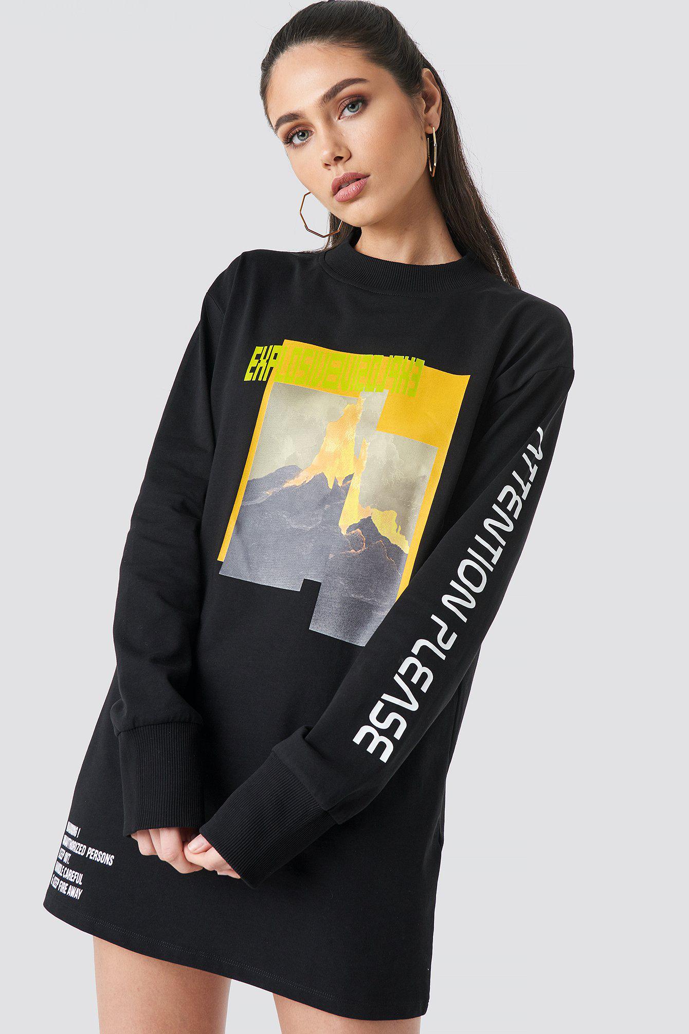 39ff4e4e7b2 Anna Nooshin X Na-Kd Explosive Long Sleeve T-Shirt Dress - Black